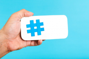 hashtag logo in a hand