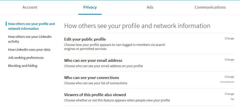 معرفی صفحه تنظیمات حساب کاربری و امنیتی در لینکدین