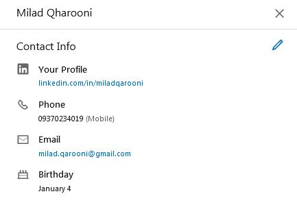 اضافه کردن اطلاعات تماس در پروفایل لینکدین
