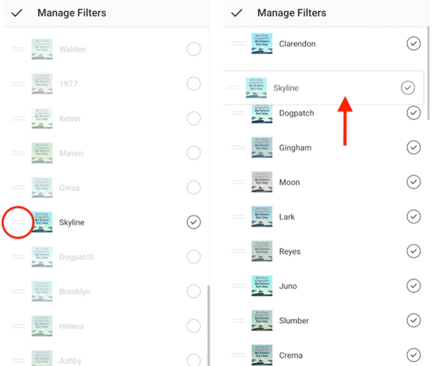 manage post filters list on instagram