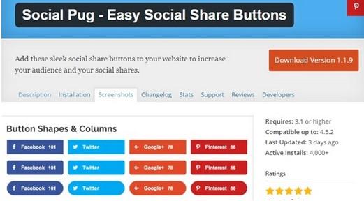easy social share button screenshot